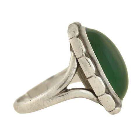 GEORG JENSEN Vintage Sterling Chrysoprase Ring No. 19