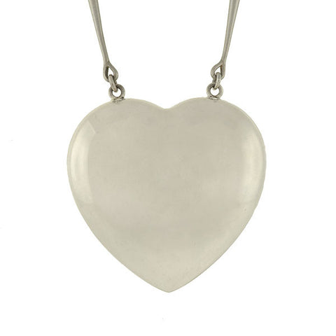 GEORG JENSEN Huge Modernist Sterling Silver Heart Necklace
