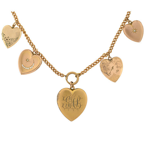 Victorian Gold Filled 5 Heart Locket Necklace 18""