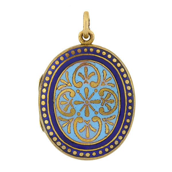 Victorian Gold-Filled Blue Enameled Locket