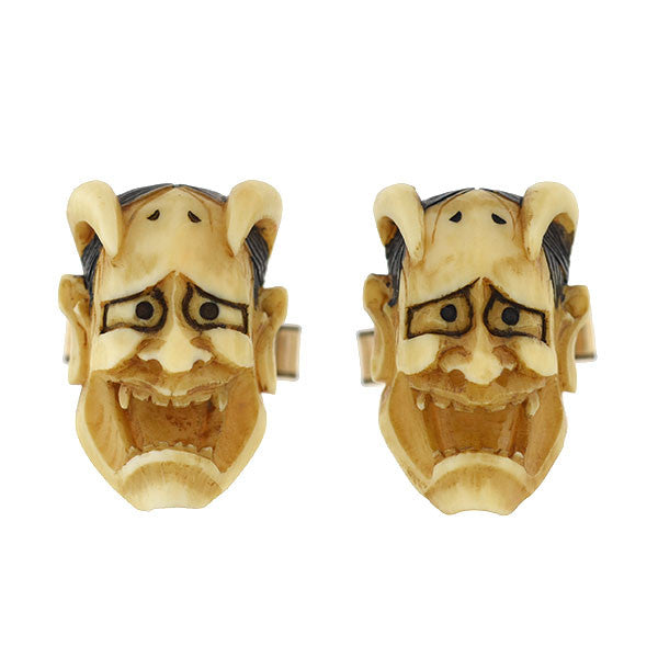 Retro 12kt Gold-Filled & Ivory Devil Face Cufflinks