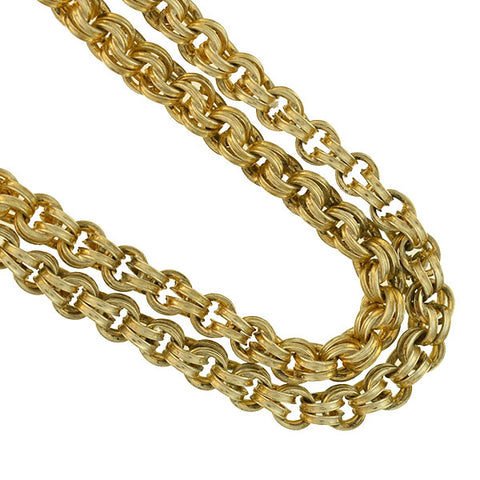 Victorian Gold-Filled Double Split Ring Chain Necklace 22""