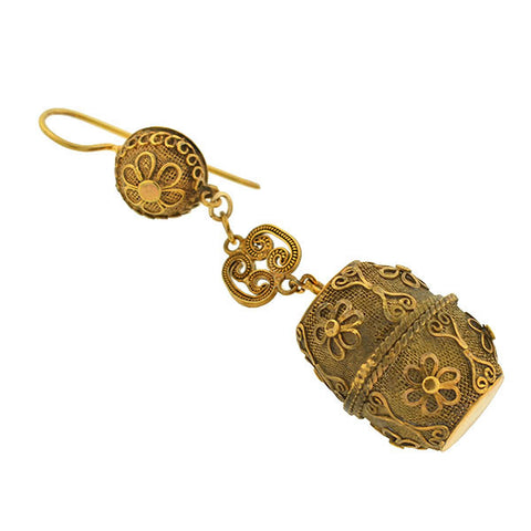 Art Deco Gold-Filled Chinese Vinaigrette Earrings