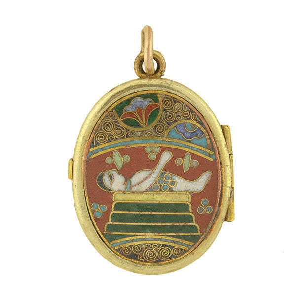 Late Victorian Gold Plated Chinese Cloisonné Locket