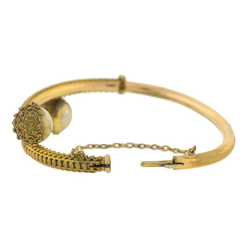 Victorian Gold-Filled Etruscan Bypass Bangle Bracelet