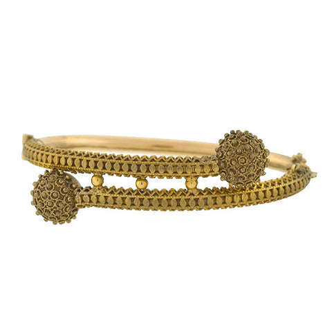 Victorian Gold-Filled Etruscan Pearl Bangle Bracelet