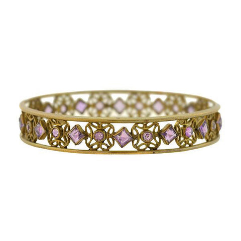 Art Nouveau Brass & Glass Faux Amethyst Open Wirework Bangle Bracelet
