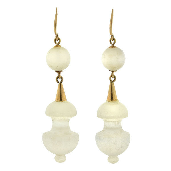 Victorian Gold-Filled Carved Feldspar Acorn Earrings