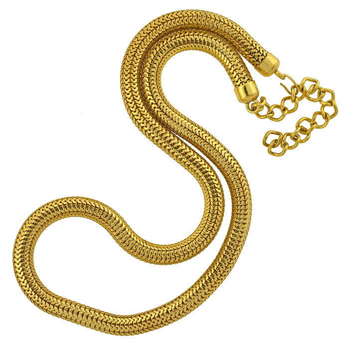 Vintage Large Gold-Plated Snake Chain Necklace 36""