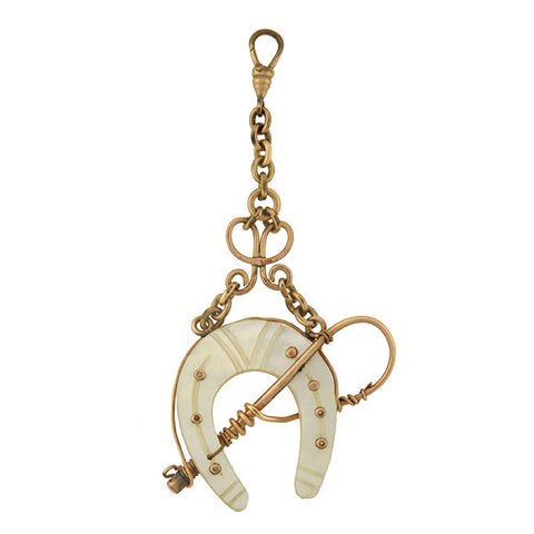 Victorian Gold-Filled Mother of Pearl Horseshoe & Riding Crop Fob/Pendant
