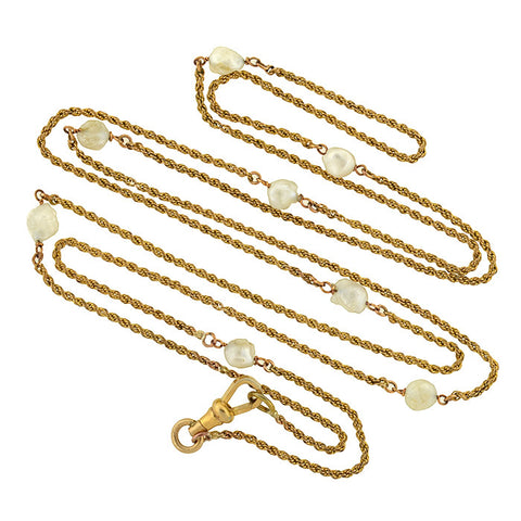 Victorian Mississippi River Pearl Gold Filled Chain Necklace 46""