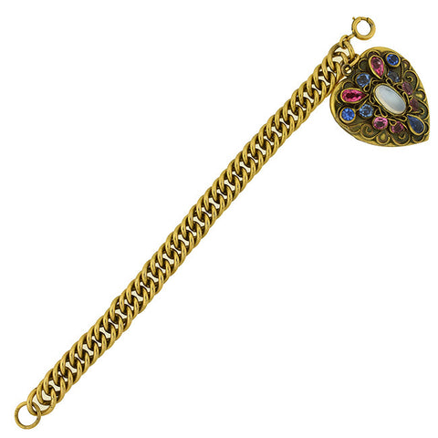 Vintage Gold-Plated Sterling & Multi-Stone Heart Locket Bracelet