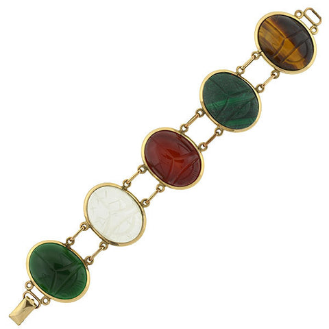 Vintage Large Gold-Filled & Multi Stone Scarab Bracelet