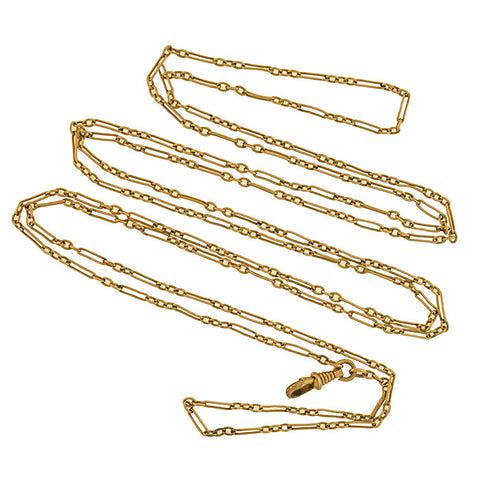Victorian Gold-Filled Open Link Watch Chain 55""