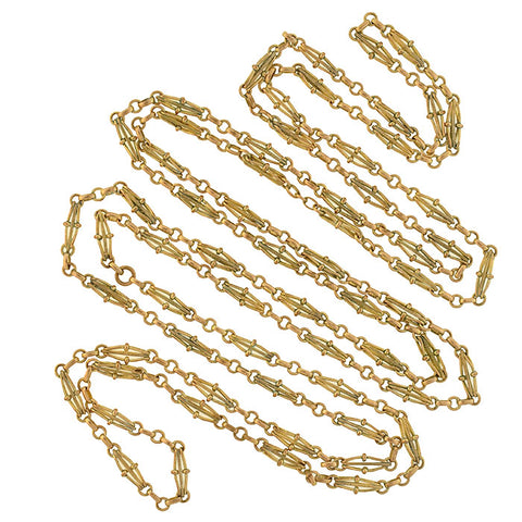 Victorian Gold-Filled Open Wirework Link Muff Chain Necklace 57""