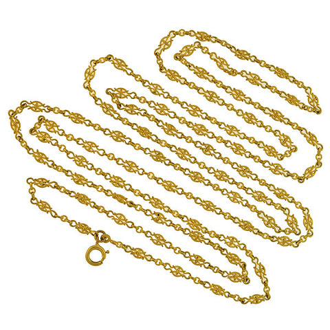 Victorian Gold-Filled Open Wirework Link Muff Chain Necklace 59""