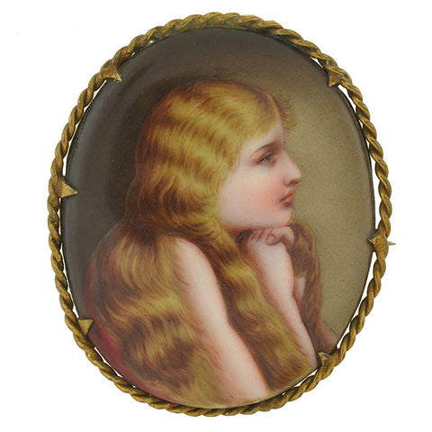 Victorian Large Gold-Filled Painted Portrait Young Girl Pin