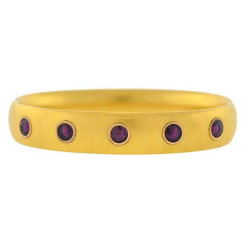 Victorian Gold-Filled Amethyst Hinged Bangle Bracelet