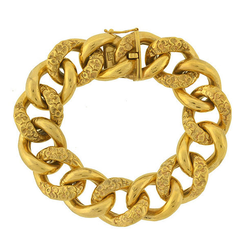 Victorian 15kt Double Buckle Etruscan Bangle Bracelet