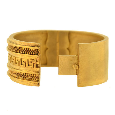 "Victorian Gold-Filled ""Roman Key"" Motif Bangle Bracelet"