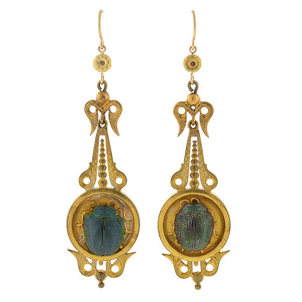 Victorian Gold-Filled & Scarab Beetle Egyptian Revival Earrings
