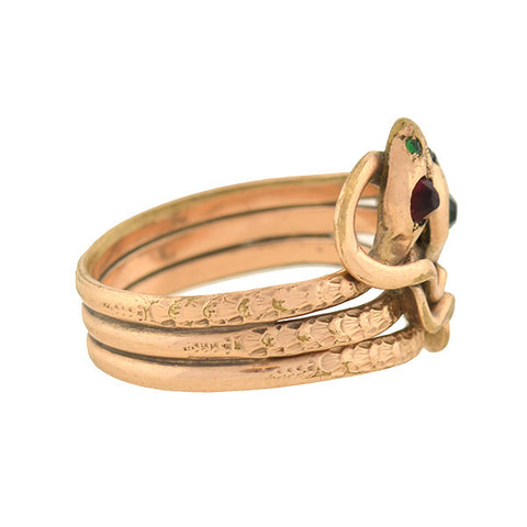 Victorian Rare Gold-Filled Faux Gemstone Triple Snake Ring