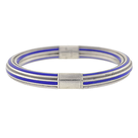 GUCCI Vintage Sterling & Blue Enamel Hinged Bangle Bracelet