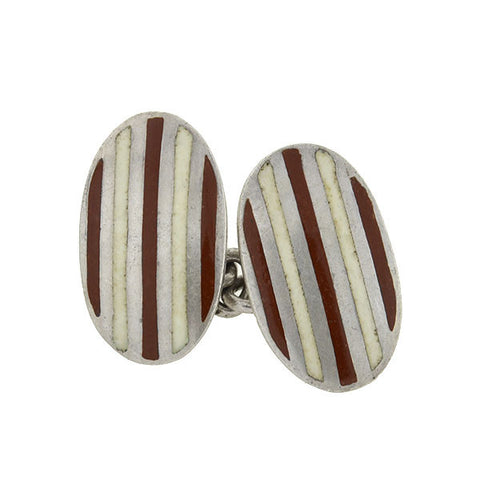 GUCCI Vintage Sterling & Enamel Striped Cufflinks