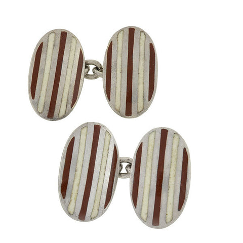 Vintage 14kt Gold & Agate Golf Cufflinks
