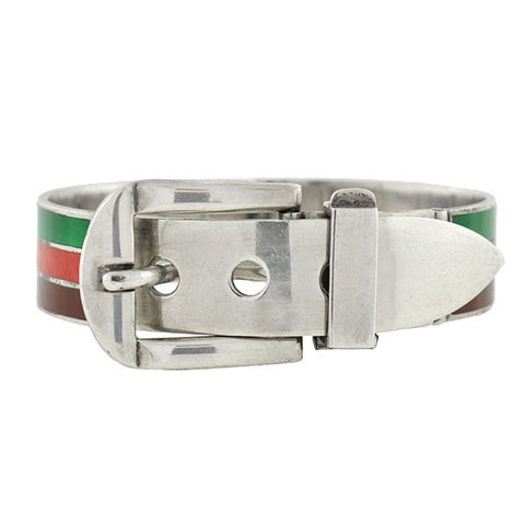 GUCCI Vintage Sterling & Enamel Buckle Bracelet- ON HOLD