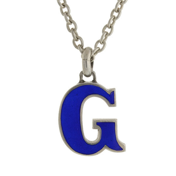 "GUCCI Vintage Sterling & Blue Enamel ""G"" Necklace"
