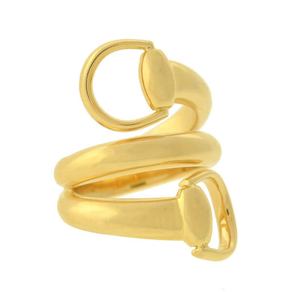GUCCI Estate 18kt Gold Wrap-Around Horsebit Contraire Ring