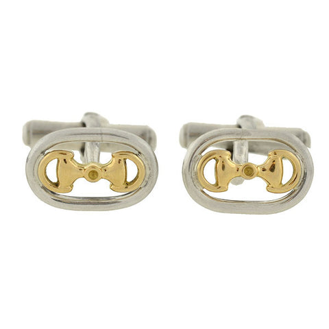 GUCCI Vintage Sterling & 18kt Mixed Metals Horsebit Cufflinks