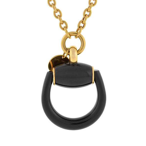 GUCCI Estate 18kt Onyx Horse Bit Necklace with Box