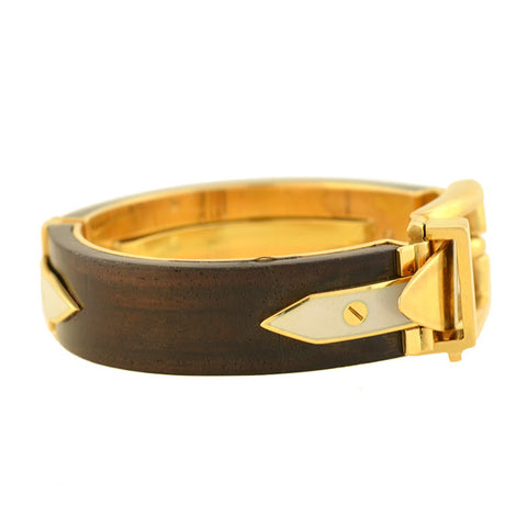 GUCCI Vintage 18kt Rosewood + Enameled Adjustable Buckle Bracelet