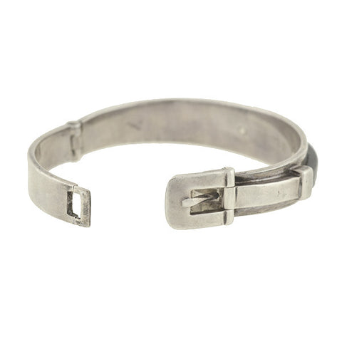 GUCCI Estate Ebony & Sterling Buckle Bracelet