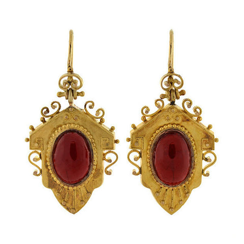 Victorian Large 15kt Garnet Teardrop Cabochon Earrings