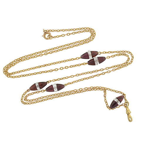 Victorian 14kt Garnet & Rock Crystal Chain Necklace 28""