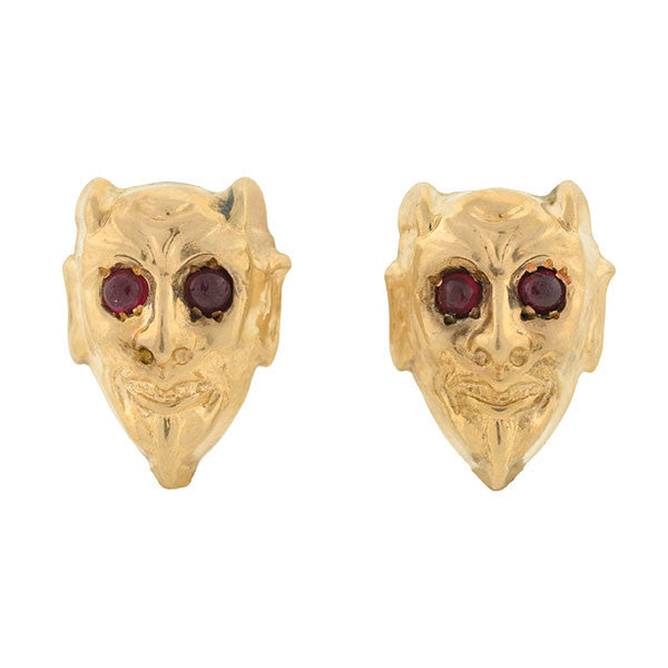 Early Retro 14kt Gold & Ruby Devil Face Cufflinks