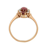 Victorian 14kt Ruby, Garnet & Diamond Navette Ring