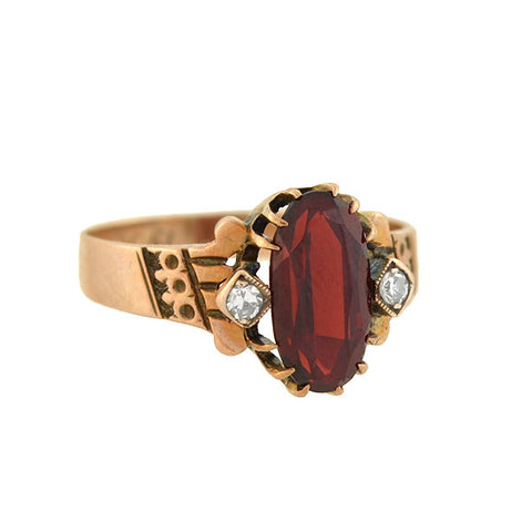 Victorian 14kt Gold Garnet Diamond Ring