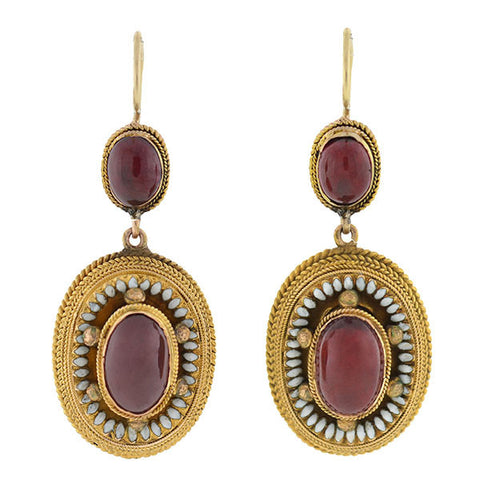 Victorian 14kt Garnet & Enamel Etruscan Earrings