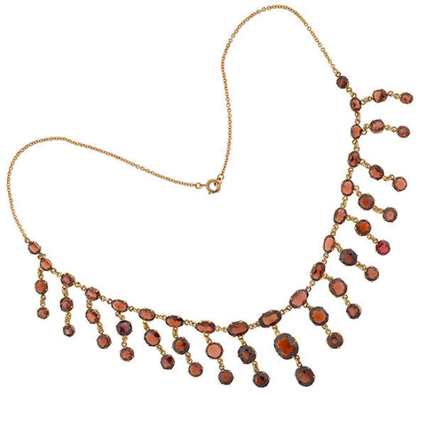 Art Deco 14kt Faceted Garnet Festoon Necklace
