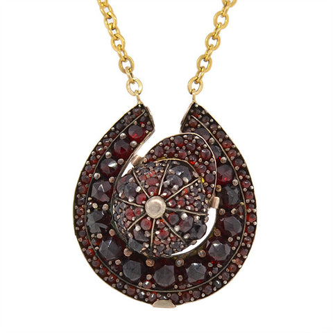 Victorian Gold Filled & Bohemian Garnet Horseshoe Necklace