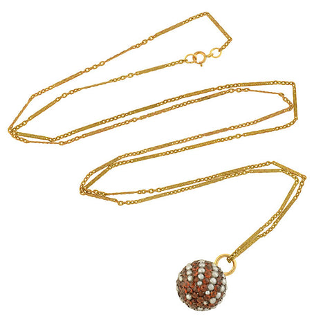 Victorian Gold-Filled Garnet + Pearl Ball Pendant Necklace 31.5""