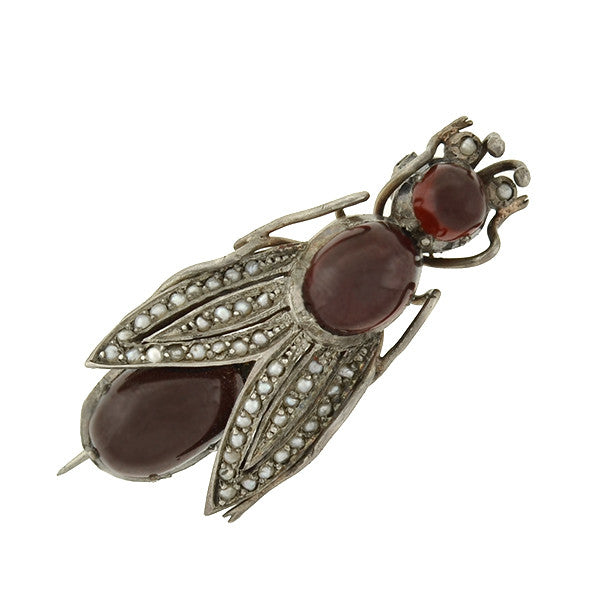 Victorian Large Silver Garnet & Seed Pearl Insect Pin