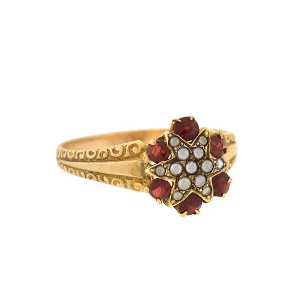 Victorian 10kt Natural Pearl & Garnet Star Ring