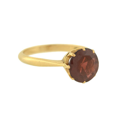Victorian English 10kt Garnet Solitaire Ring