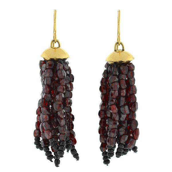 Estate 18kt Beaded Garnet Tassel Earrings