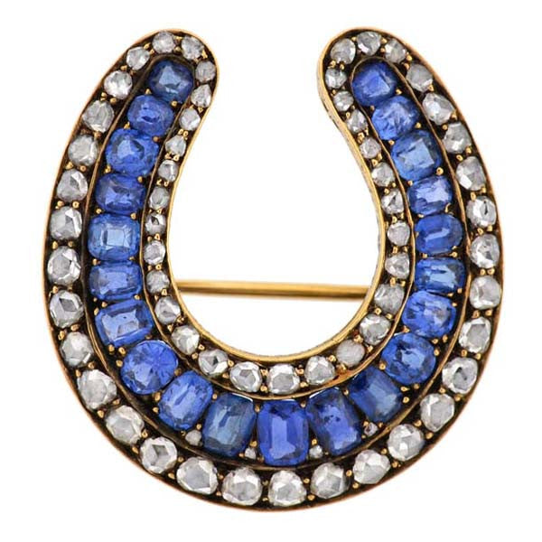 Victorian 18kt Sapphire & Rose Cut Diamond Horseshoe Pin